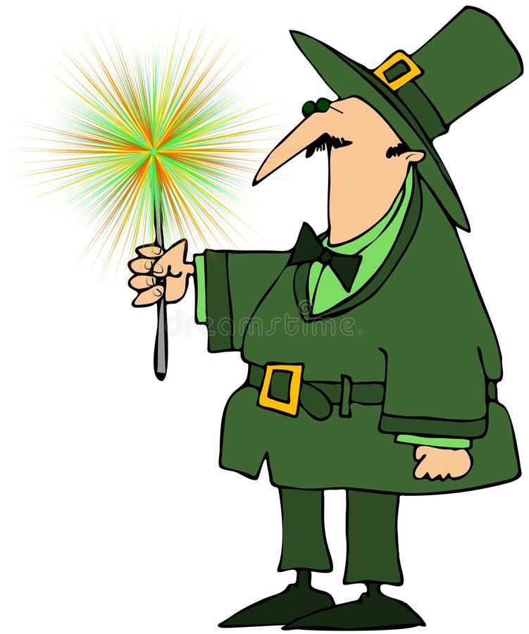 Leprechaun que sostiene un Sparkler verde stock de ilustración
