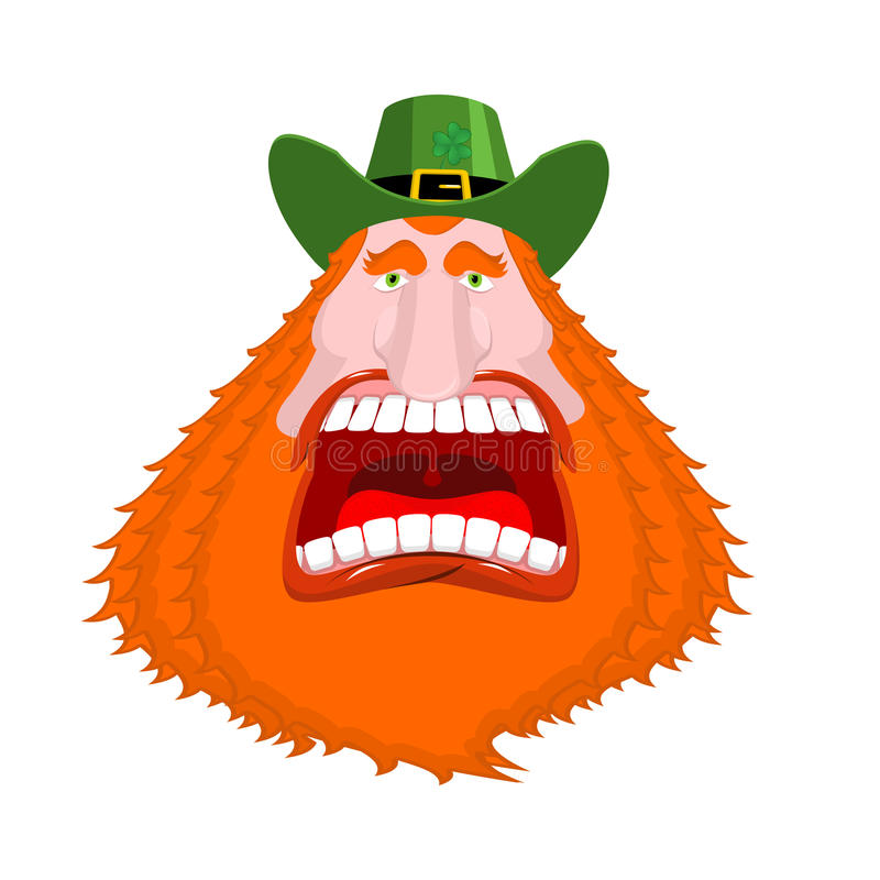 Leprechaun Scream. Open Mouth. Scary Angry Dwarf For St. Patrick ...