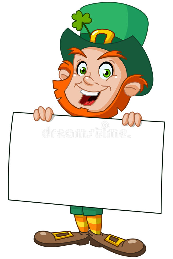 Leprechaun with sign. Leprechaun carrying a blank sign royalty free illustration