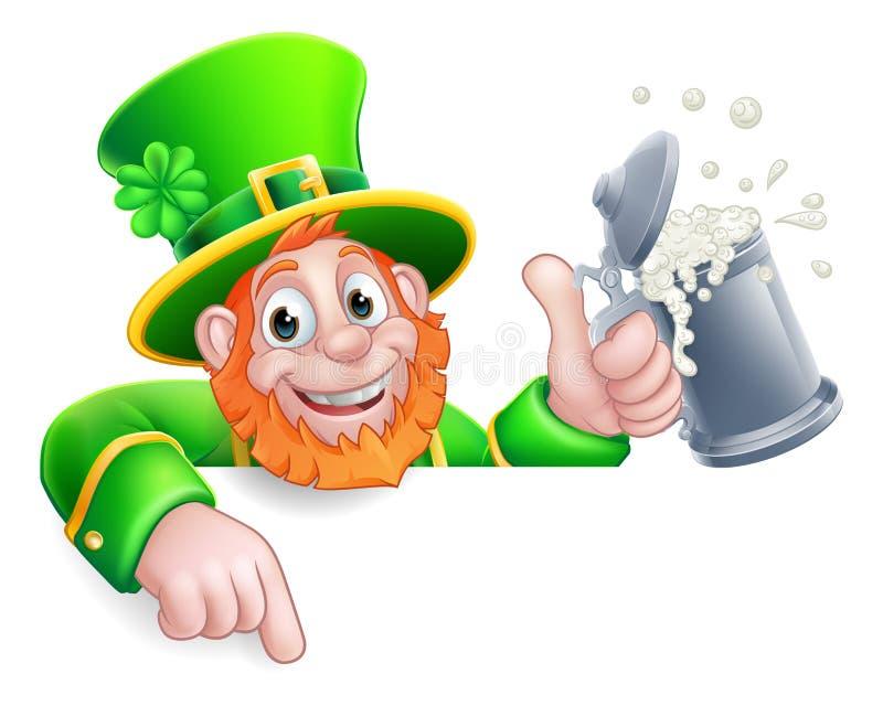 Leprechaun St Patricks Day Pointing Drink Cartoon stock images