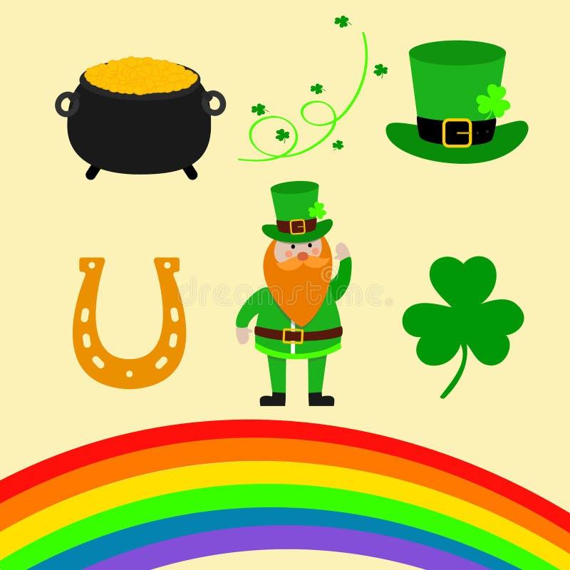 Happy St. Patrick Day scene creator set vector illustration. Leprechaun, clover shamrock leaf, the hat, pot of gold, rainbow, magi vector illustration