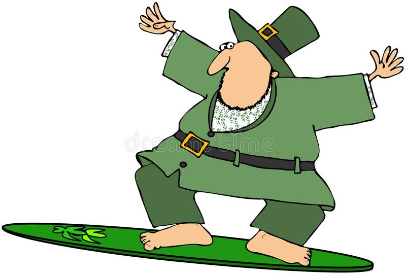 leprechaun surfingowiec royalty ilustracja
