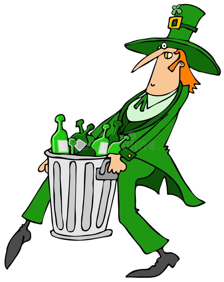 Leprechaun taking out the garbage royalty free illustration