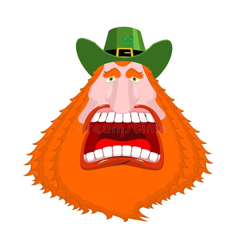Leprechaun wrzask otwarte usta Straszny gniewny karzeł dla St Patrick ilustracji