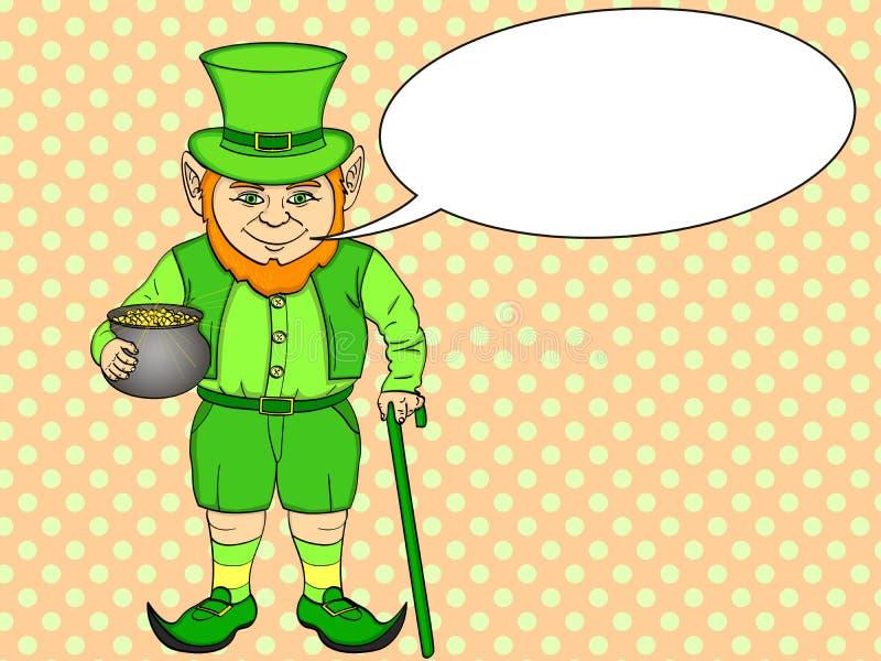 Leprechaun wystrzału sztuka szczęśliwy St Patrick trzyma kocioł złociste monety w jego rękach pełno Imitaci komiczki stylu wektor ilustracji