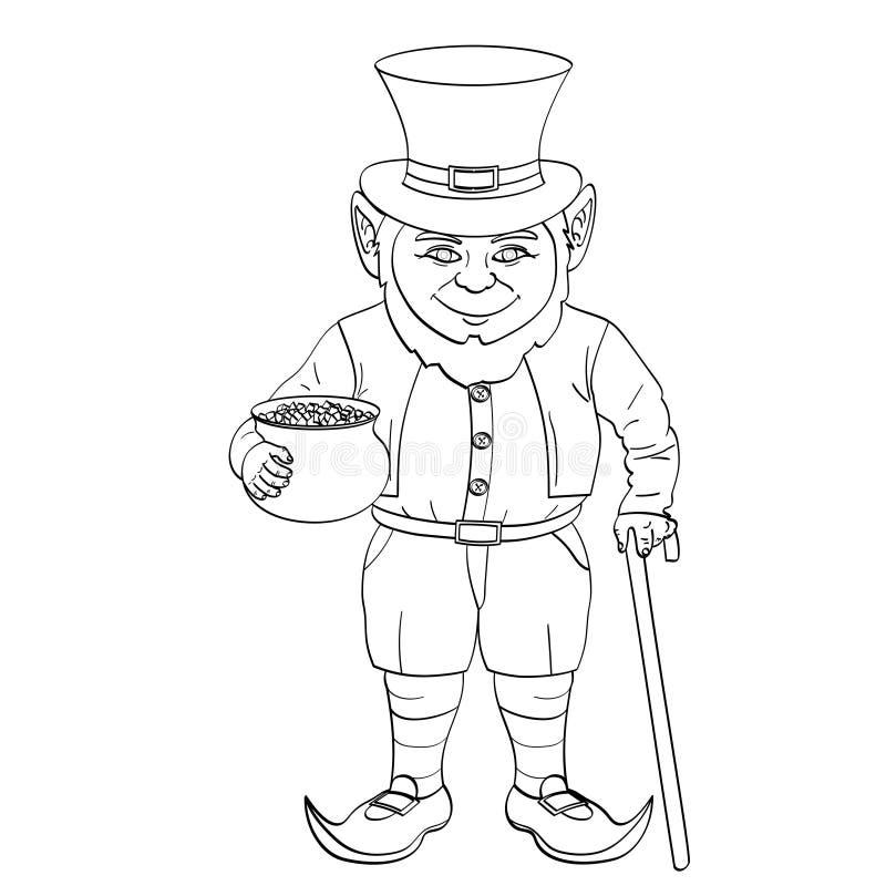 Leprechaun wystrzału sztuka szczęśliwy St Patrick trzyma kocioł złociste monety w jego rękach pełno Przedmiot kolorystyki książka royalty ilustracja