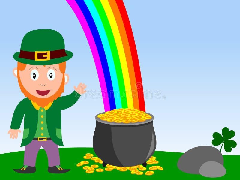 Leprechaun y crisol de oro stock de ilustración