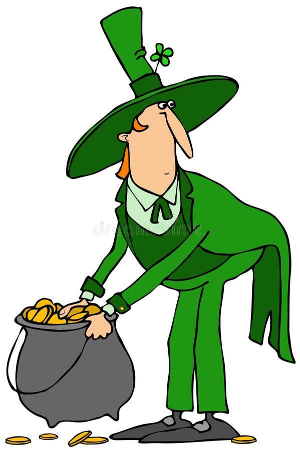 Leprechaun z garnkiem złoto ilustracja wektor