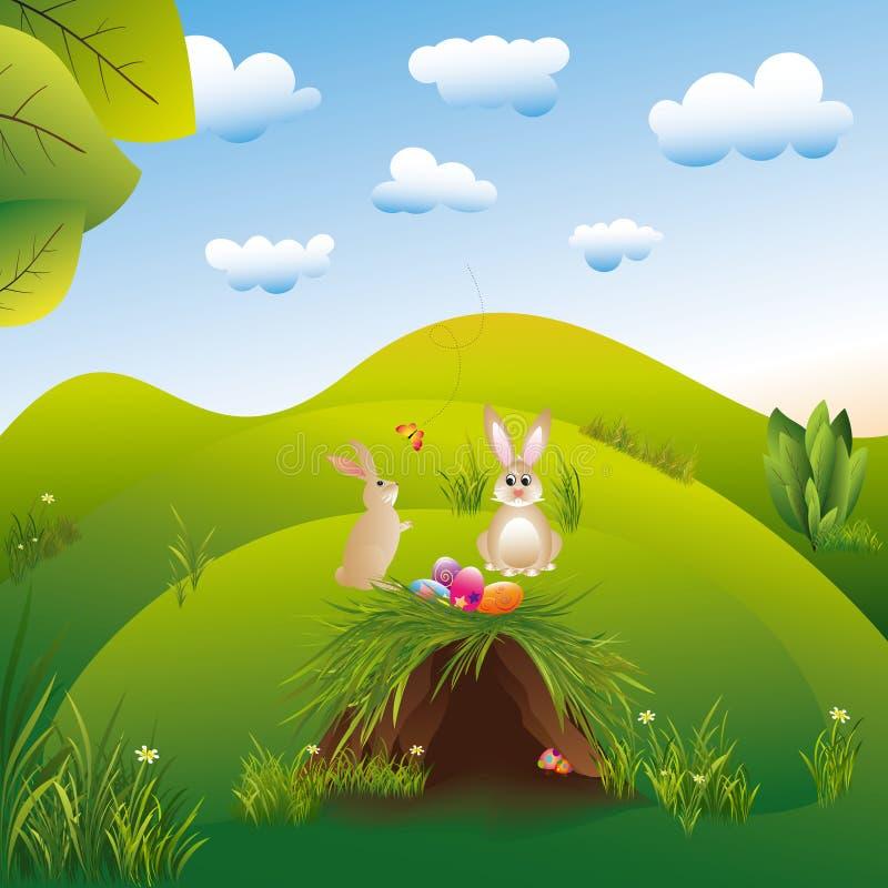 Lepri del landspace di festa di Pasqua nel paese delle meraviglie illustrazione di stock