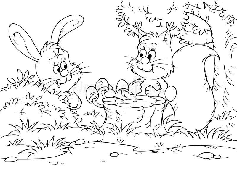 Lepri e scoiattolo illustrazione di stock