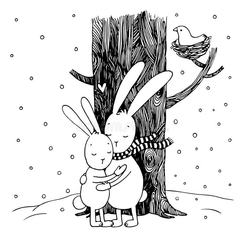 Lepri sveglie del fumetto Inverno illustrazione di stock