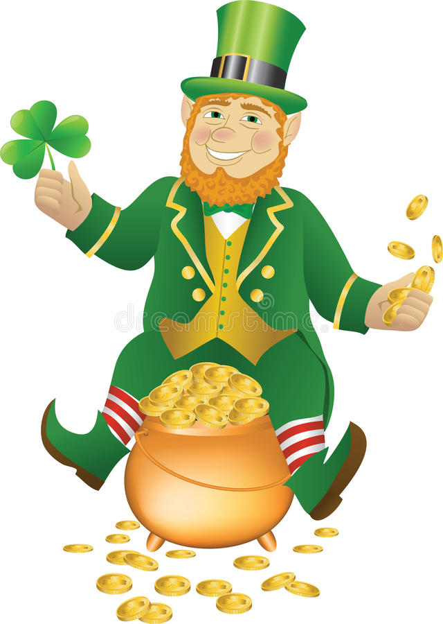 Free Leprikon Sitting On The Pot Of Gold Royalty Free Stock Photography - 46668007