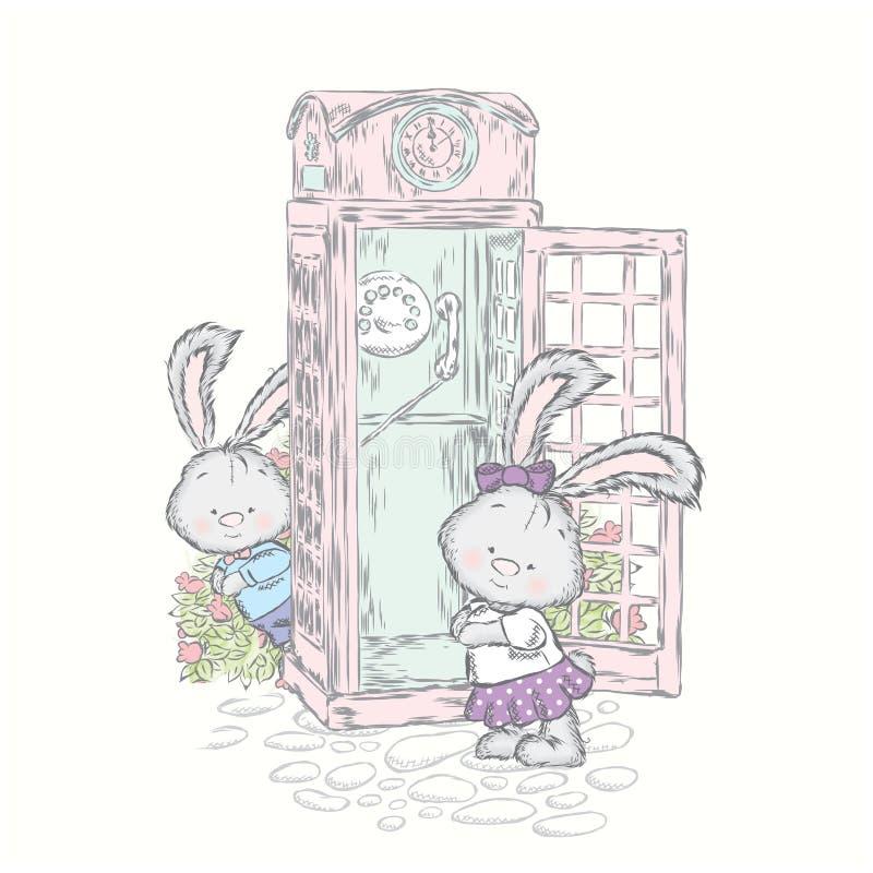 Leprotti adorabili vicino alla cabina telefonica Illustrazione di vettore per una carta o un manifesto Stampa sui vestiti illustrazione di stock
