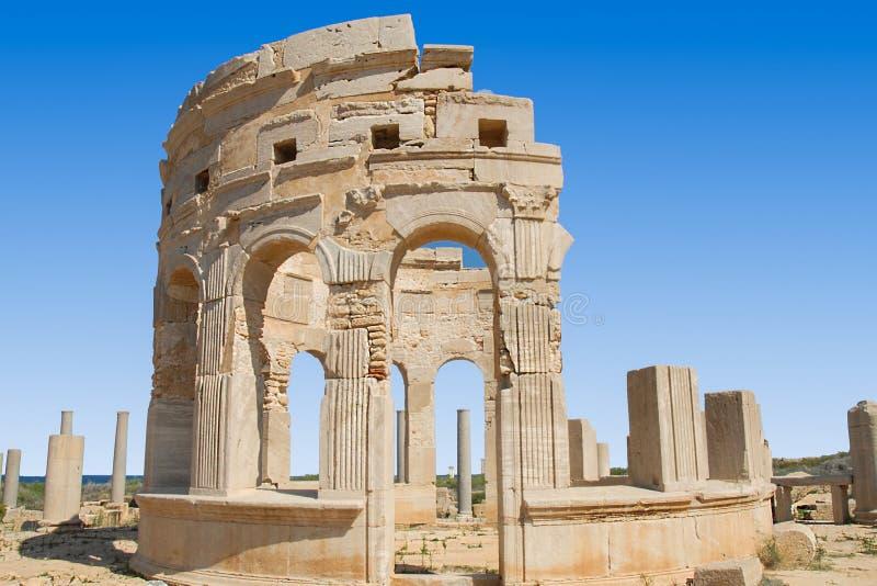 Leptis Magna fördärvar i Libyen royaltyfria foton