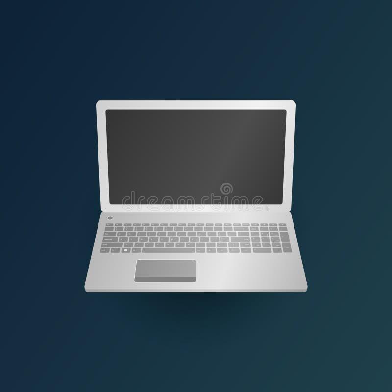 Leptop na obscuridade - fundo verde ilustração royalty free