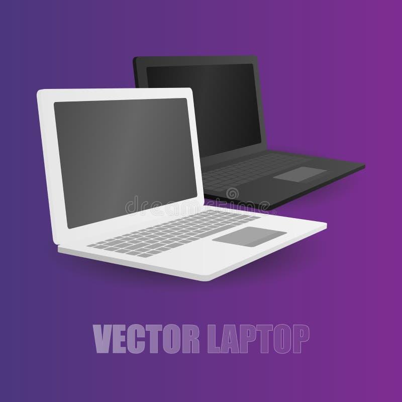 Leptop zwei weiß und schwarz am violetten Hintergrund lizenzfreie abbildung