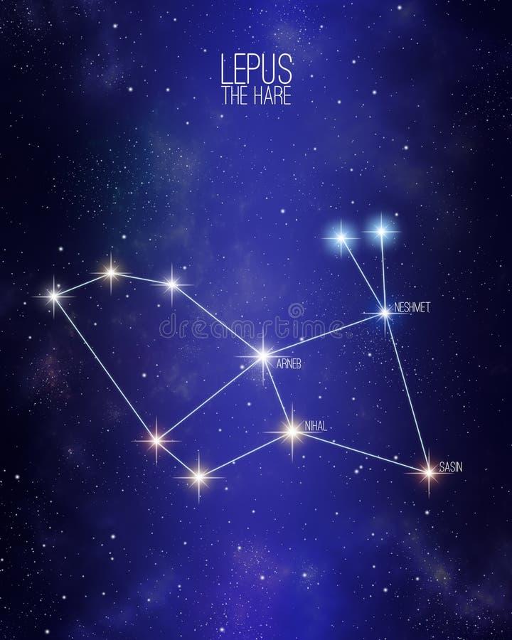 Lepus a constelação da lebre em um fundo estrelado do espaço com os nomes de suas estrelas principais Tamanhos relativos e cor di ilustração do vetor