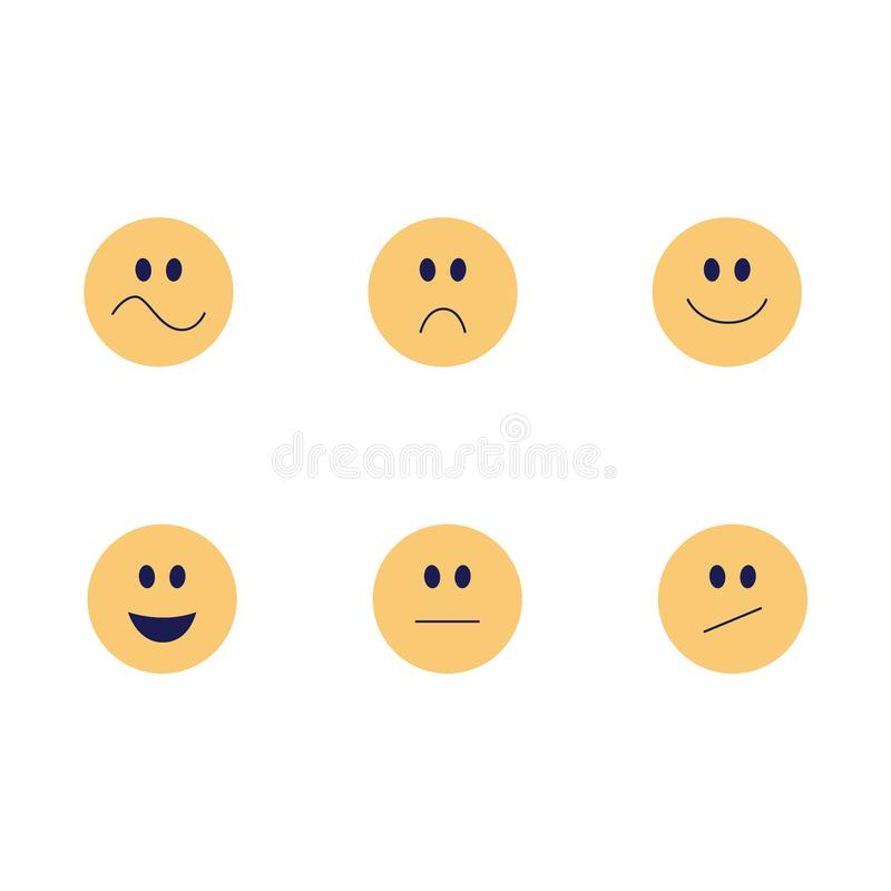 Ler den roliga emojien för vektor den plana symbolsuppsättningen vektor illustrationer