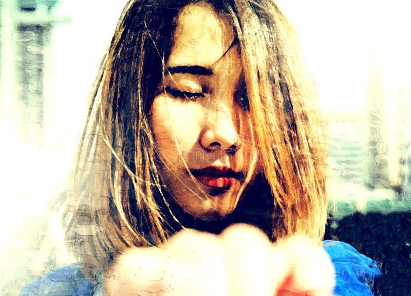 Ler härliga asiatiska kvinnor för abstrakt färgrik närbild ståenden på vattenfärgillustrationmålning stock illustrationer