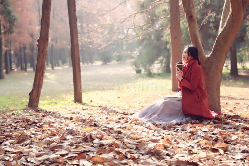 Ler na natureza é meu passatempo, menina com livro e chá no parque do outono imagem de stock royalty free