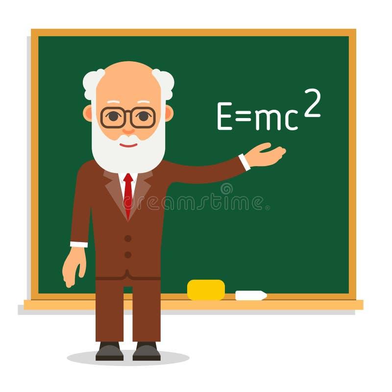 leraar Bejaarde mannelijke leraarstribune op les bij het bord stock illustratie