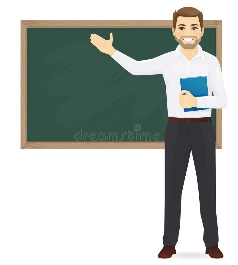 Leraar bij bord vector illustratie