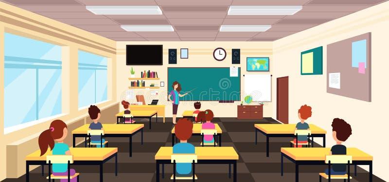 Leraar bij bord en kinderen bij schoolbanken in klaslokaal De vectorillustratie van het beeldverhaal royalty-vrije illustratie