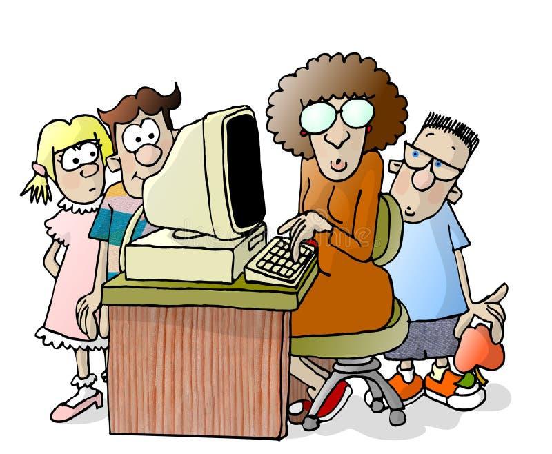 Leraar en drie studenten royalty-vrije illustratie