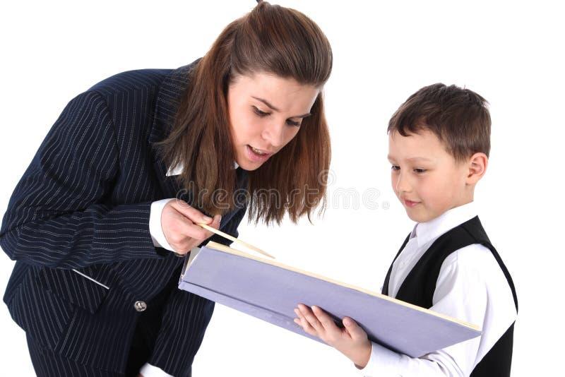 Leraar en jongen royalty-vrije stock afbeeldingen