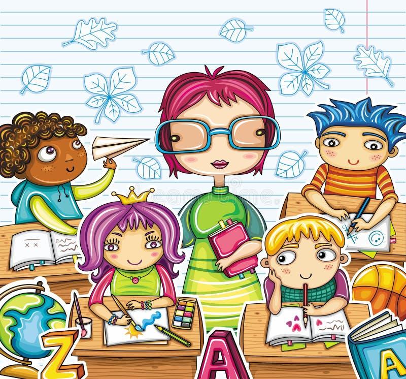 Leraar en kinderen   vector illustratie