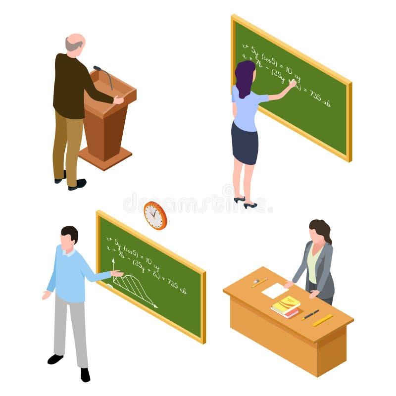 Leraar en sprekerskarakters op witte achtergrond worden geïsoleerd die vector illustratie