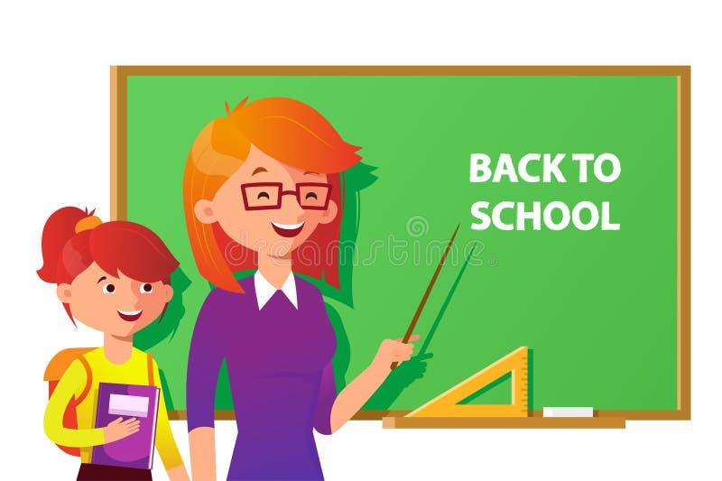 Leraar en student dichtbij het bord die op de plaats met tekst richten Terug naar school vector vlakke illustratie binnen stock illustratie