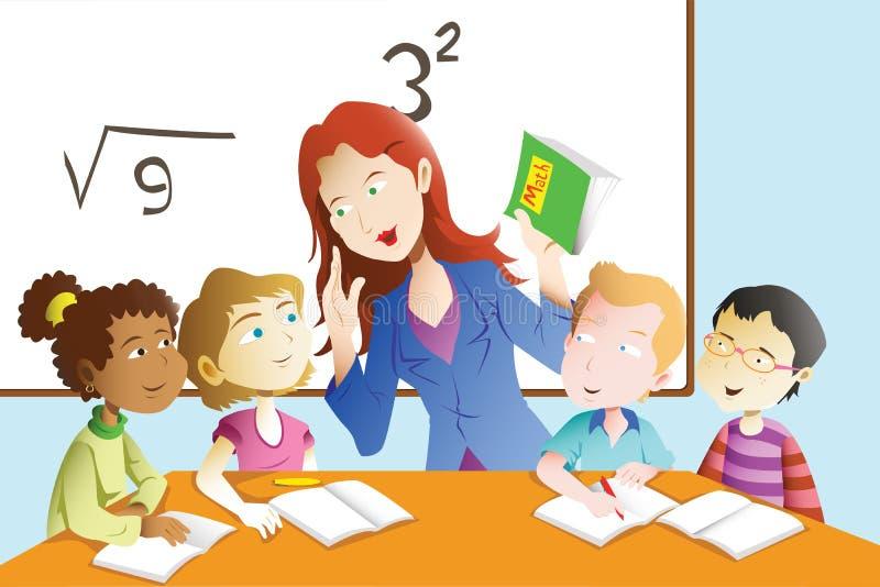 Leraar en student in het klaslokaal royalty-vrije illustratie