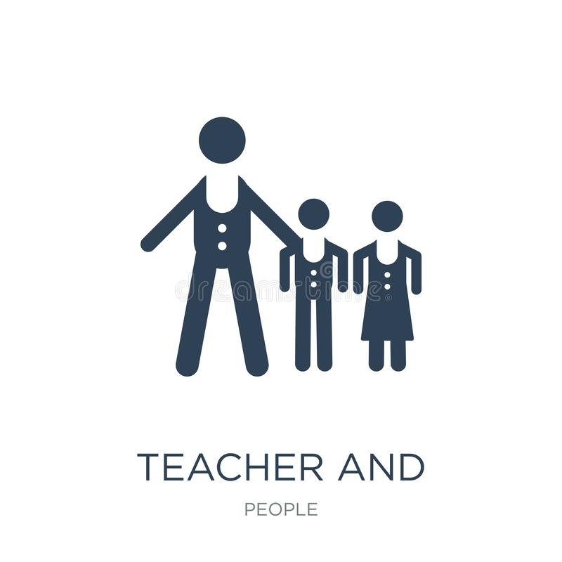 leraar en studentenpictogram in in ontwerpstijl leraar en studentenpictogram op witte achtergrond wordt geïsoleerd die Leraar en  royalty-vrije illustratie