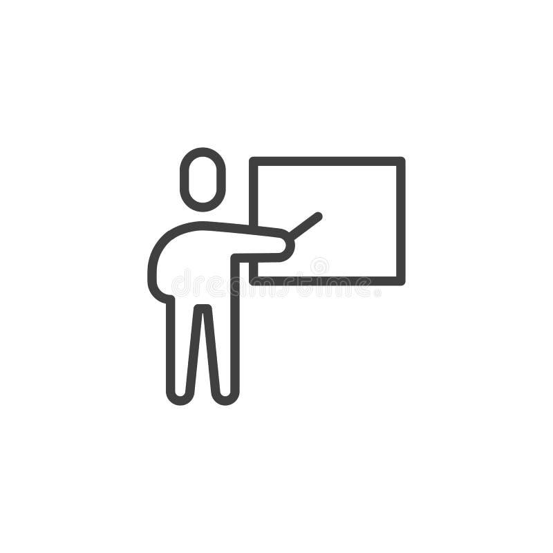 Leraar en whiteboard lijnpictogram stock illustratie