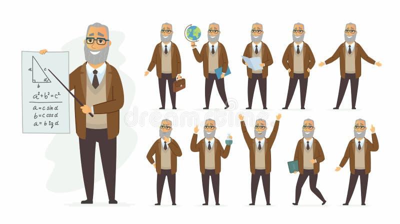 Leraar - het vectorkarakter van beeldverhaalmensen - reeks stock illustratie