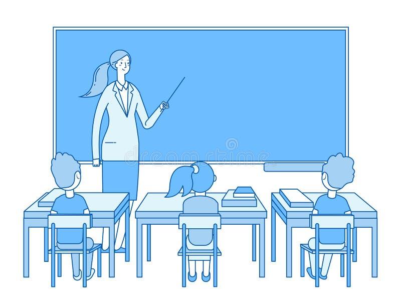 Leraar in klaslokaal Jonge vrouw bij het bordonderwijs, jonge geitjesstudenten die in klasse bestuderen Basisschoolonderwijs stock illustratie