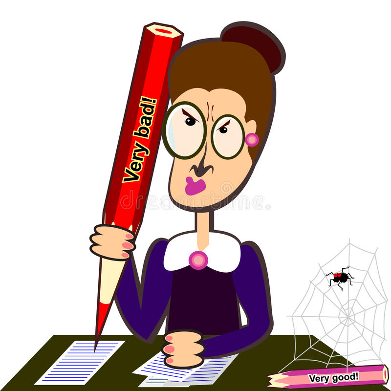 Leraar met groot potlood stock illustratie