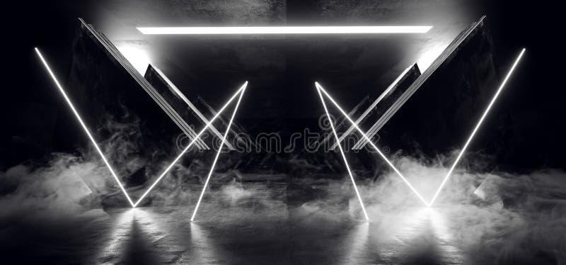 Lerciume concreto d'ardore bianco al neon dell'astronave di Sci Fi del triangolo dell'estratto del fumo dell'estratto del metallo illustrazione vettoriale