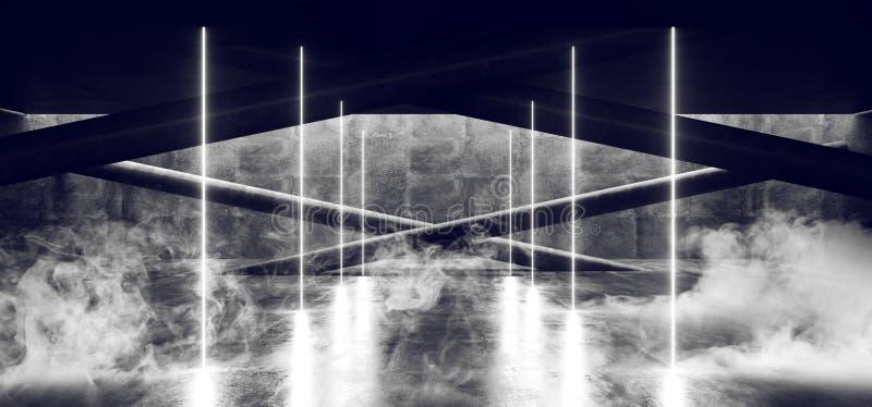 Lerciume concreto sotterraneo moderno Hall Room Corridor Room Garage del cemento di Sci Fi Minimalistic del fumo con le colonne c illustrazione vettoriale