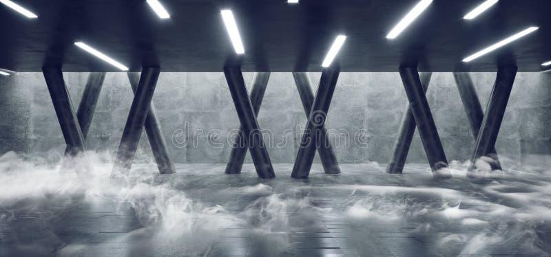 Lerciume concreto sotterraneo moderno Hall Room Corridor Room Garage del cemento di Sci Fi Minimalistic del fumo con le colonne c illustrazione di stock