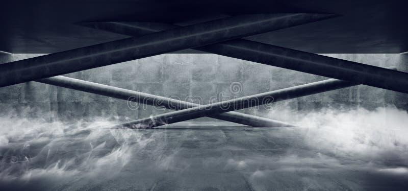 Lerciume concreto sotterraneo moderno Hall Room Corridor Room Garage del cemento di Sci Fi Minimalistic del fumo con le colonne c royalty illustrazione gratis