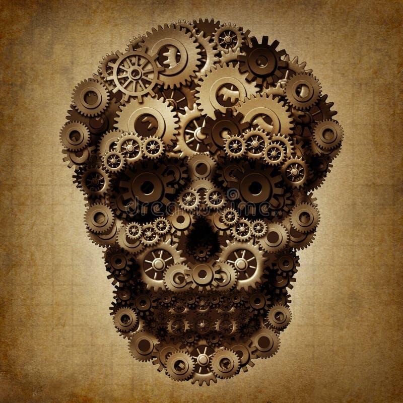 Lerciume dell'ingranaggio del cranio illustrazione di stock