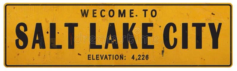Lerciume Rerto d'annata rustico del segnale stradale di Salt Lake City Utah immagini stock libere da diritti
