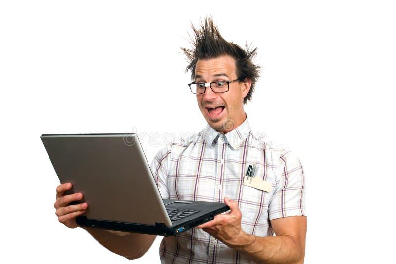 Lerdo amedrontado do computador foto de stock