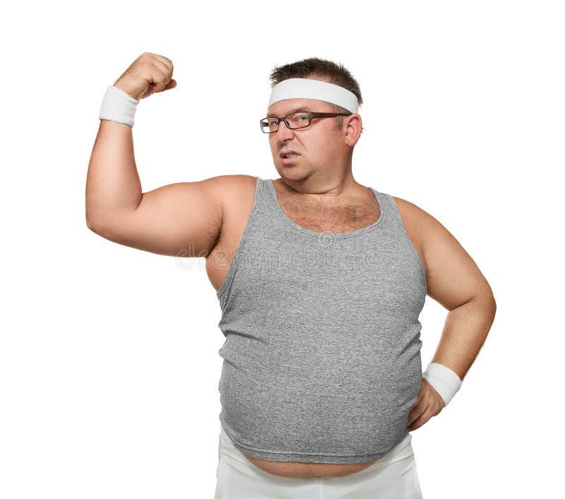 Lerdo excesso de peso engraçado que mostra fora fotografia de stock royalty free