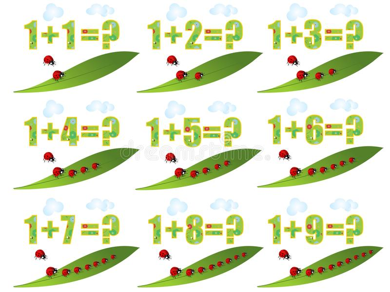 Lerend math, toevoegend 1 vector illustratie