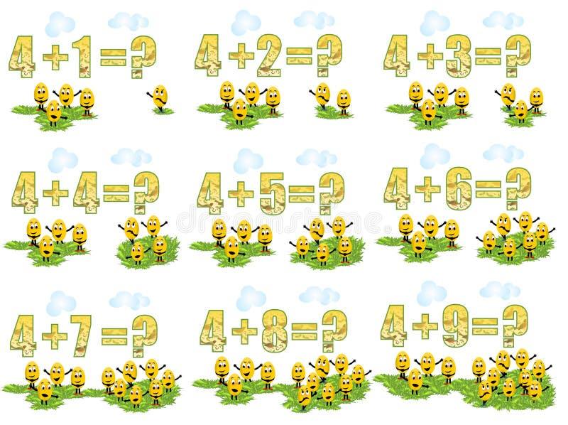 Lerend math, toevoegend 4 royalty-vrije illustratie