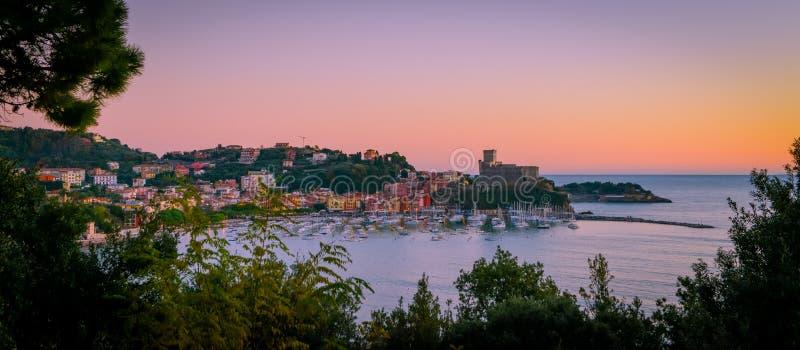 Lerici harbour, La Spezia, Liguria, Italy. Panoramic view of the bay and skyline of Lerici at sunset, La Spezia, Liguria, northern Italy stock photos