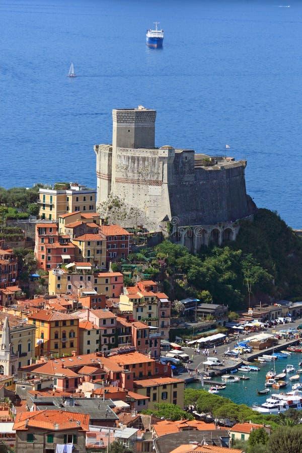 Lerici, het kasteel. Ligurië, Italië royalty-vrije stock afbeelding